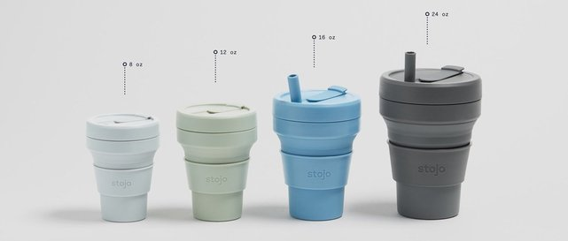 Photo of various Stojo mug sizes