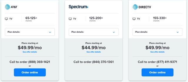 TV Plans Pricing Comparison
