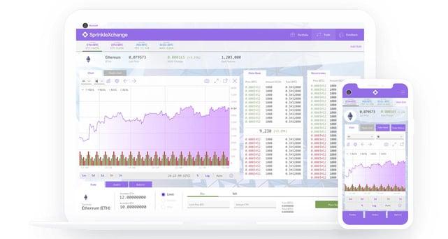 Capture d'écran des interfaces SprinkleXchange