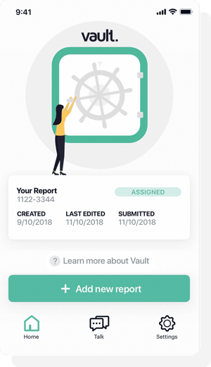 Screenshot of the Vault App