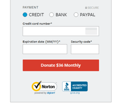 Screenshot of Humane Society Donation Form