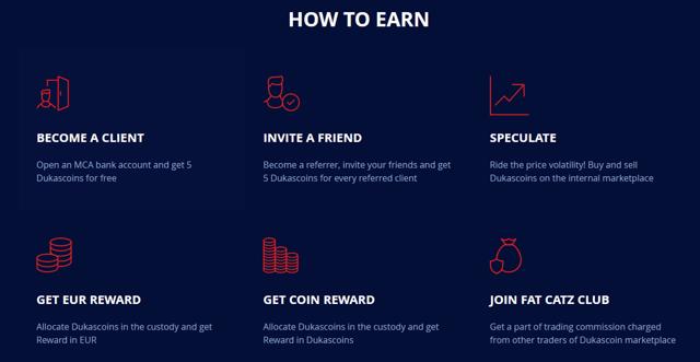 Screenshot of the Dukascoin Website