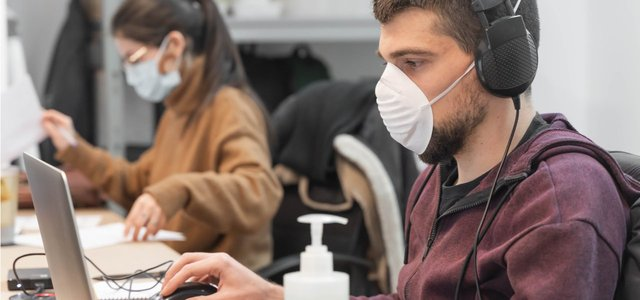 Employees Wearing Masks at Work