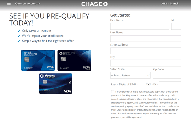 Chase Prequalify Page