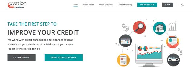 Screenshot of the Ovation Credit Repair Website