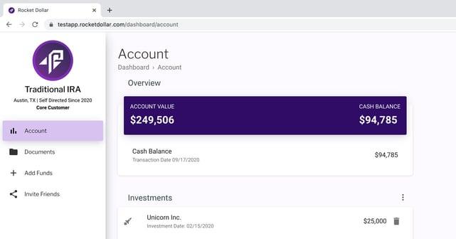 Screenshot of Rocket Dollar interface