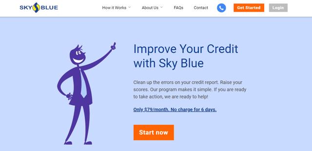 Screenshot of the SkyBlue Credit Repair Website