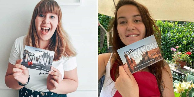 Photos of BeRightBack subscribers with their postcards