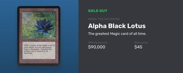 Screenshot of Alpha Black Lotus card from Magic: The Gathering