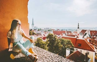 Woman Looking Down at Tallinn