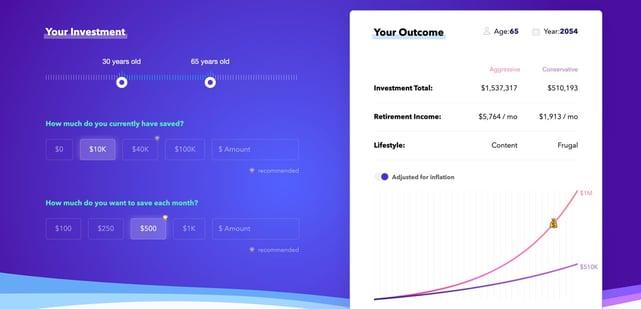 Screenshot of Investment Calculator homepage