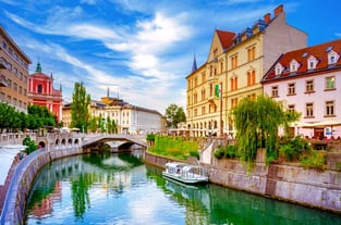 Ljubjlana City and River Photo