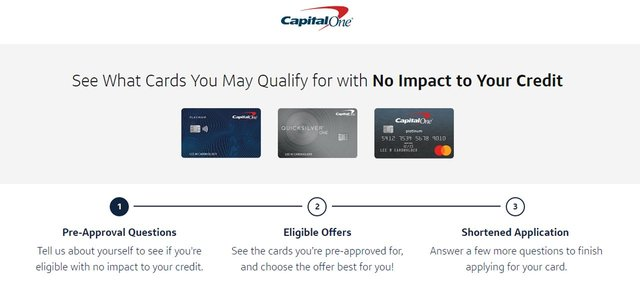 Capital One Prequalify Screen