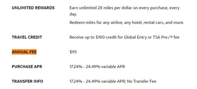 Annual Fee Screenshot