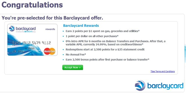 Barclaycard Preapproval Offer
