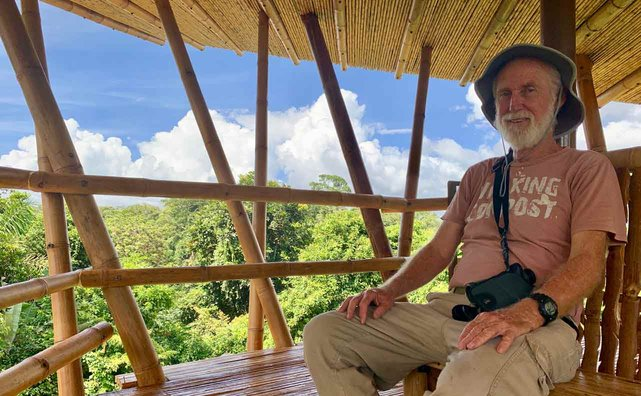 Photo of Finca Luna Nueva Co-Founder Stephen Farrell in the observation tower
