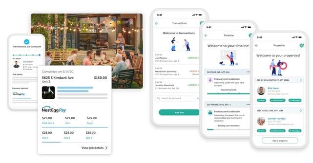 Screenshots of NestEgg app on mobile devices