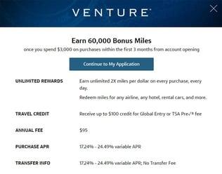 Venture Card Details