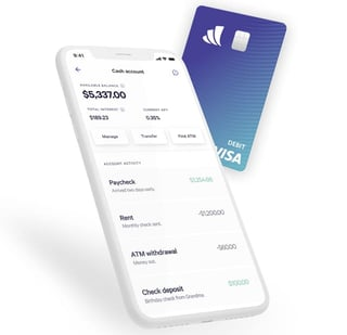 Graphic of Wealthfront app and debit card