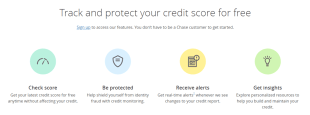Screenshot of Chase Credit Journey Homepage