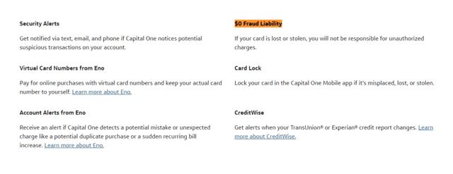 Fraud Liability Screenshot for the Capital One Venture Card