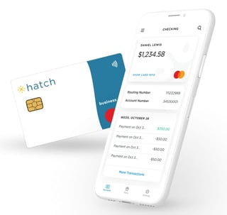 Graphic of Hatch card and mobile app on device