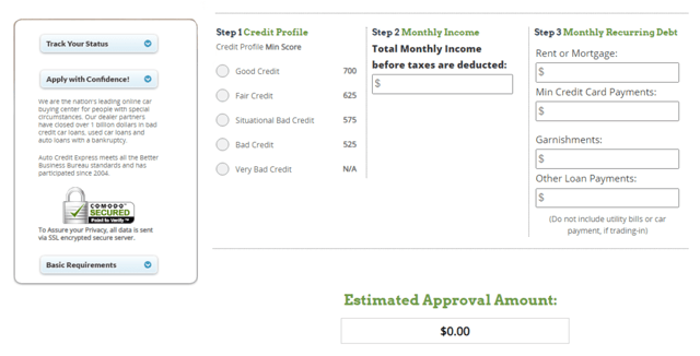 Auto Credit Express Prequalification Form