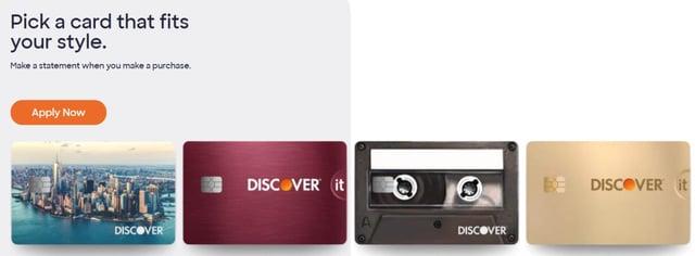 Screenshot of Discover Card Designs