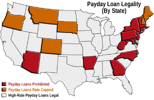 Payday Loan Legality by State Map