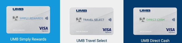 Screenshot of UMB Bank cards