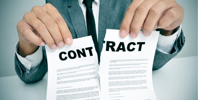 Man Tearing a Contract In Half