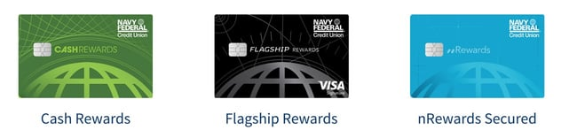 Screenshot of Navy Federal Credit Union Card products