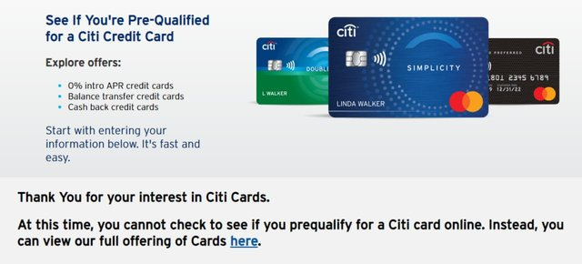 Screenshot of the Citi prequalification page.