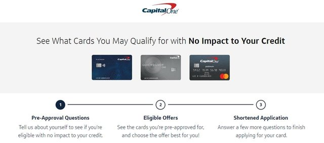 Screenshot of Capital One preapproval page.