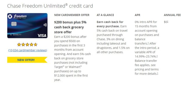 Screenshot of the promotional terms for the Chase Freedom Unlimited card.