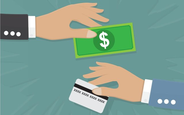 Cartoon image of a hand holding cash and another holding a credit card.