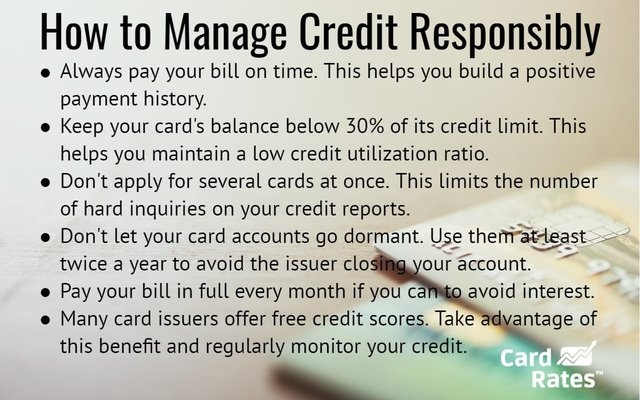 Graphic explaining how to manage credit cards responsibly.