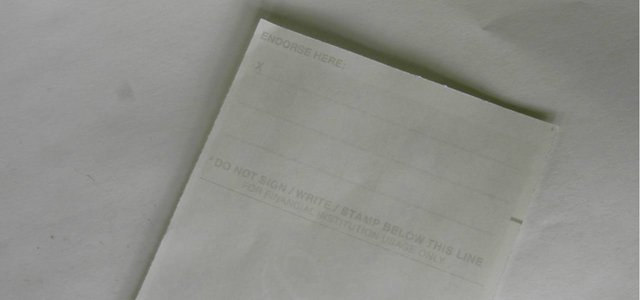 Photo of the back of a check.