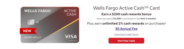 Screenshot from the Wells Fargo website.