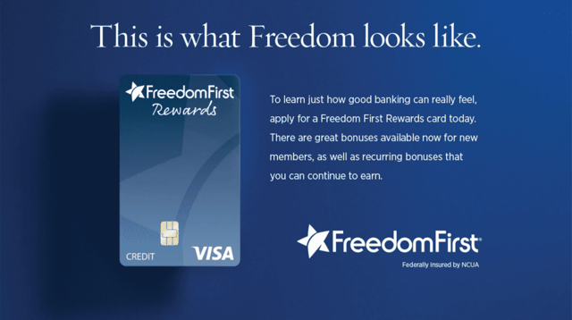 Screenshot from the Freedom First Credit Union website.