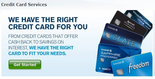 Screenshot of Chase.com credit card services.