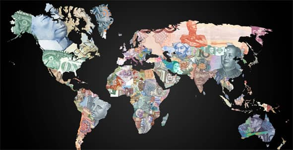 An atlas displays countries by their currency.