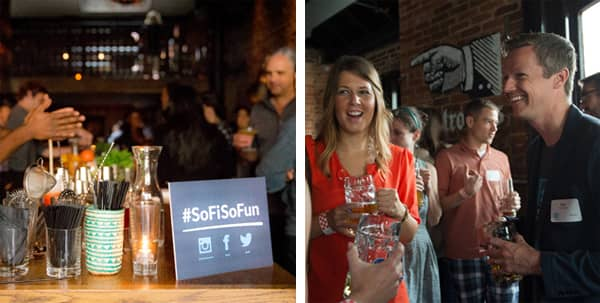 Two photos of networking events hosted by SoFi in San Francisco.