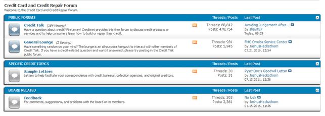 Screenshot of the Creditnet.com forum