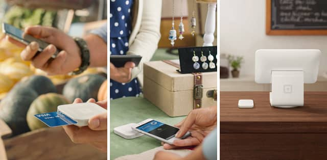 Images of Square's Contactless and Chip Reader, and Square Stand.