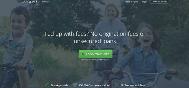 Screenshot of Avant's homepage where they boast no origination fees on unsecured loans