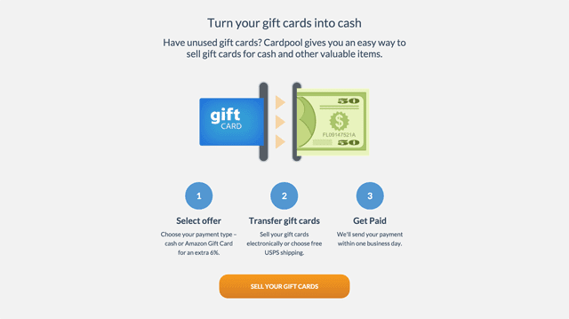 Cardpool pays cash for gift cards