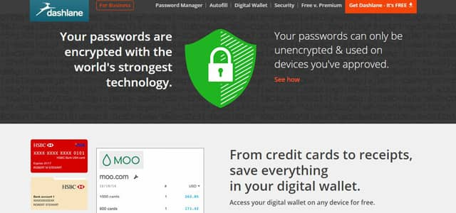 Screenshot of Dashlane's website