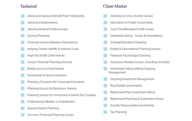 A screenshot of the NAPFA Advisor Search Tool