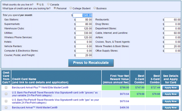 A screenshot of the Credit Card Tune-Up web tool